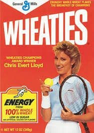 Chris Evert on the Wheaties Cereal Box